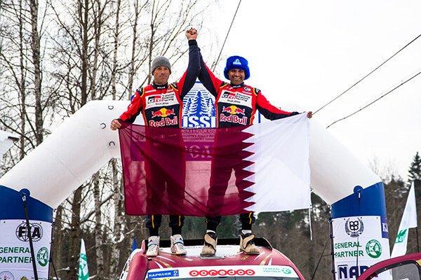 Nasser Al-Attiyah and Mathieu Baumel - Baja Russia 2018 podium